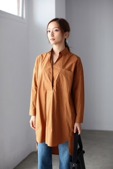 【AZUL by moussy】スキッパー長袖シャツワンピース