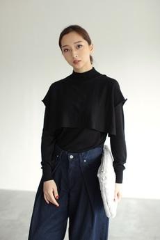 【AZUL by moussy】ハイテックデザイン長袖ニットプルオーバー