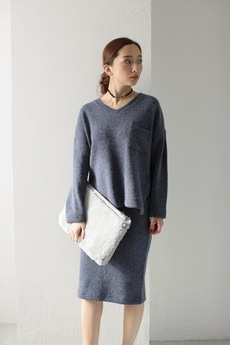 【AZUL by moussy】MIXニットソートップス×ミディスカートセットアップ