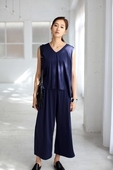 【AZUL by moussy】C/MOシルケットスムースノースリーブセットアップ