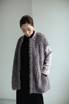 【AZUL by moussy】フェイクファー切換ロングブルゾン