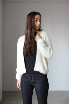 【AZUL by moussy】フェレットタッチ畦編みニットカーデ