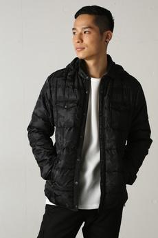 【AZUL by moussy】カモフラJQD中綿フードシャツジャケット