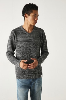 【AZUL by moussy】MIX編みVネック長袖プルオーバー