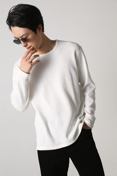 【AZUL by moussy】ヘビーワッフルクルーネック長袖T