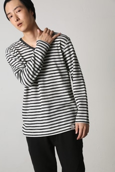 【AZUL by moussy】ヘビーワッフルボーダーVネック長袖T