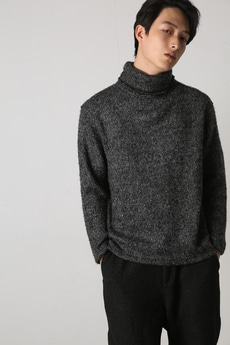 【AZUL by moussy】メランジアクリルタートルネックニットソー