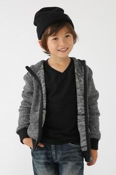 【KIDS】メランジロングループ長袖ZIPパーカー