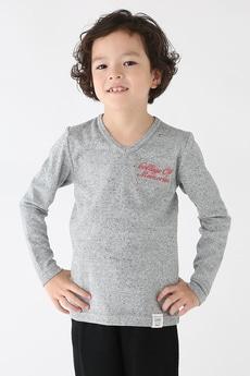 【KIDS】タックフライスバック刺繍Vネック長袖T