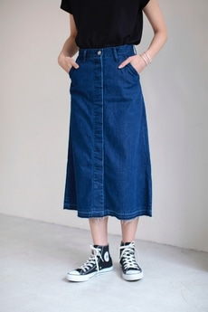 【AZUL by moussy】比翼ロングデニムスカート