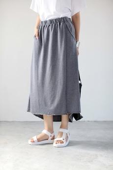 【AZUL by moussy】ミニ裏毛オパール加工ラップロングスカート