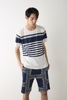 【AZUL by moussy】ランダムパネルボーダークルーネック半袖T