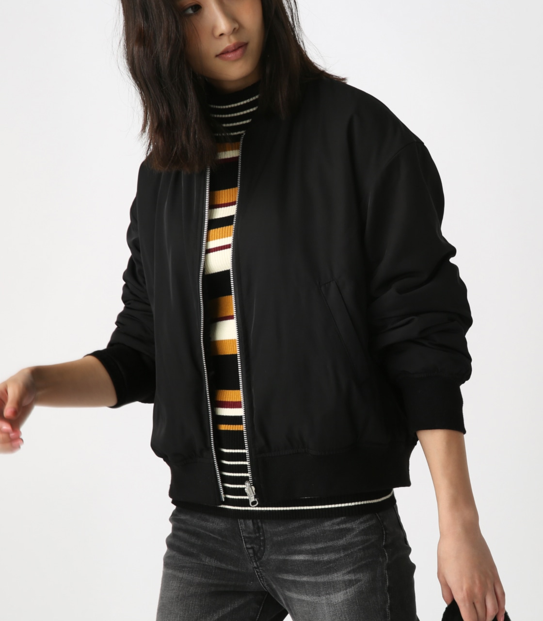 【AZUL BY MOUSSY】リバーシブルボアブルゾン 詳細画像 BLK 1