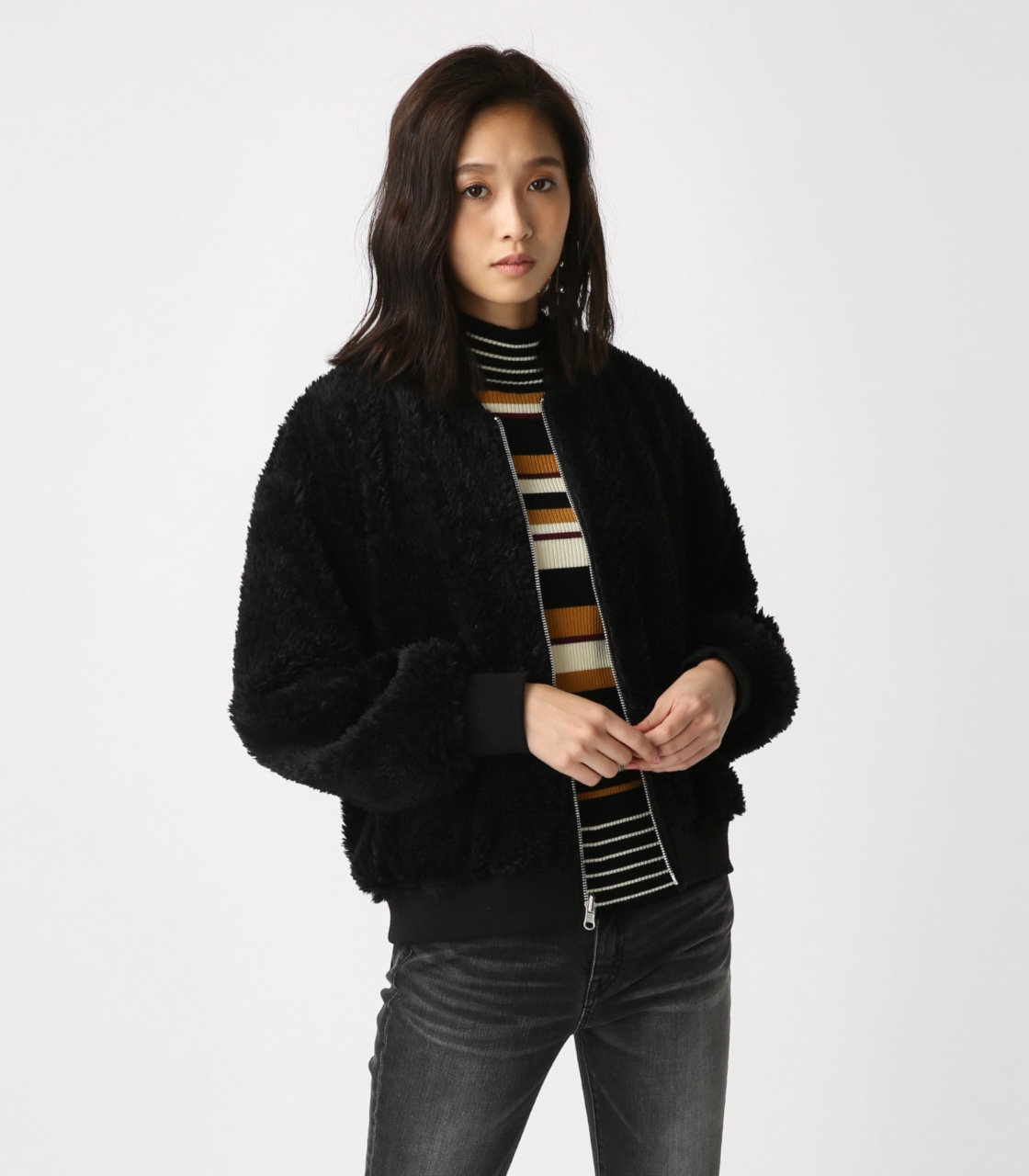 【AZUL BY MOUSSY】リバーシブルボアブルゾン 詳細画像 BLK 4