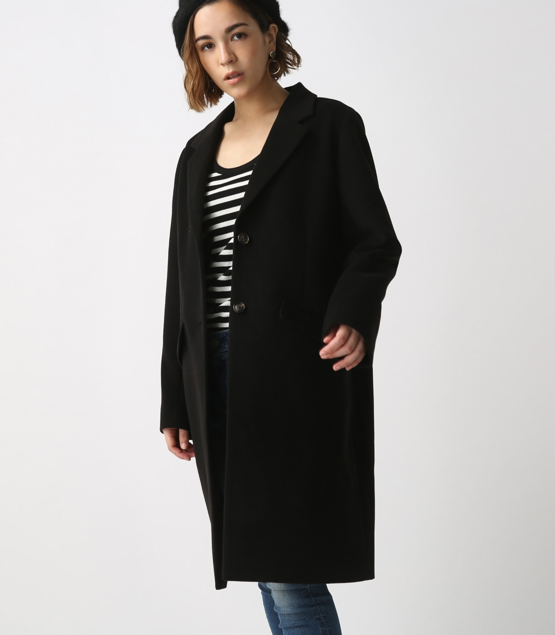 【AZUL BY MOUSSY】スタンダードチェスターコート 詳細画像 BLK 2