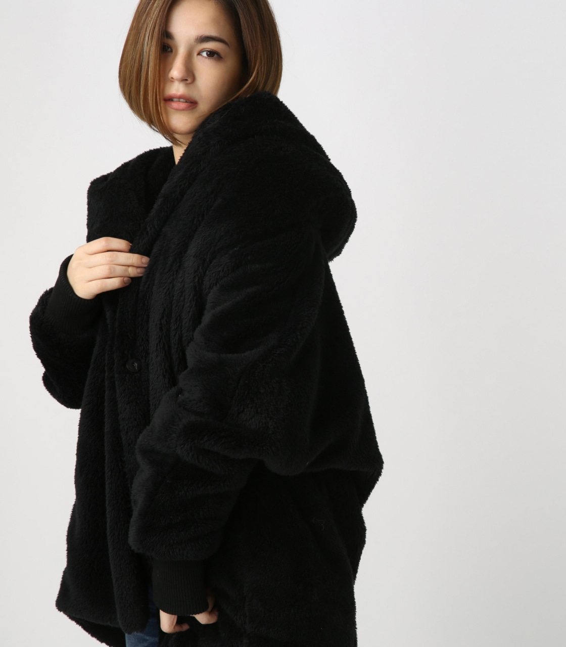 【AZUL BY MOUSSY】ボアショールカラーロングコート【MOOK44掲載 99031】 詳細画像 BLK 1