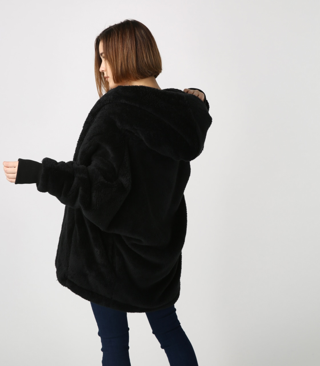 【AZUL BY MOUSSY】ボアショールカラーロングコート【MOOK44掲載 99031】 詳細画像 BLK 3