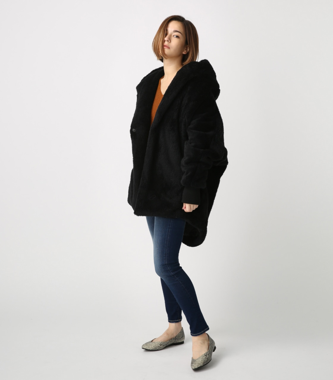 【AZUL BY MOUSSY】ボアショールカラーロングコート【MOOK44掲載 99031】 詳細画像 BLK 4
