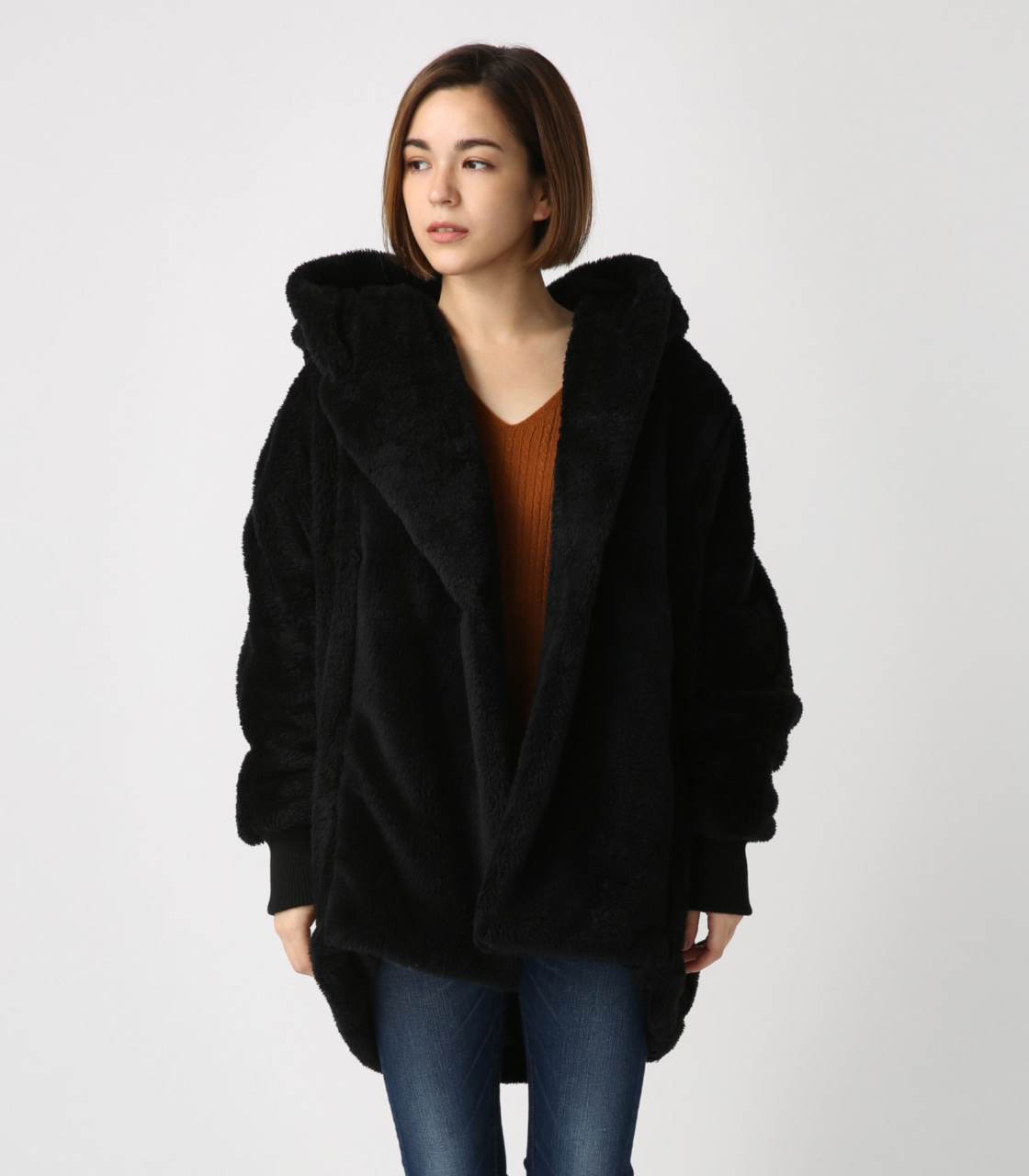 【AZUL BY MOUSSY】ボアショールカラーロングコート【MOOK44掲載 99031】 詳細画像 BLK 5
