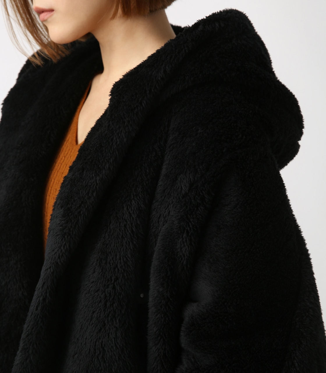 【AZUL BY MOUSSY】ボアショールカラーロングコート【MOOK44掲載 99031】 詳細画像 BLK 8