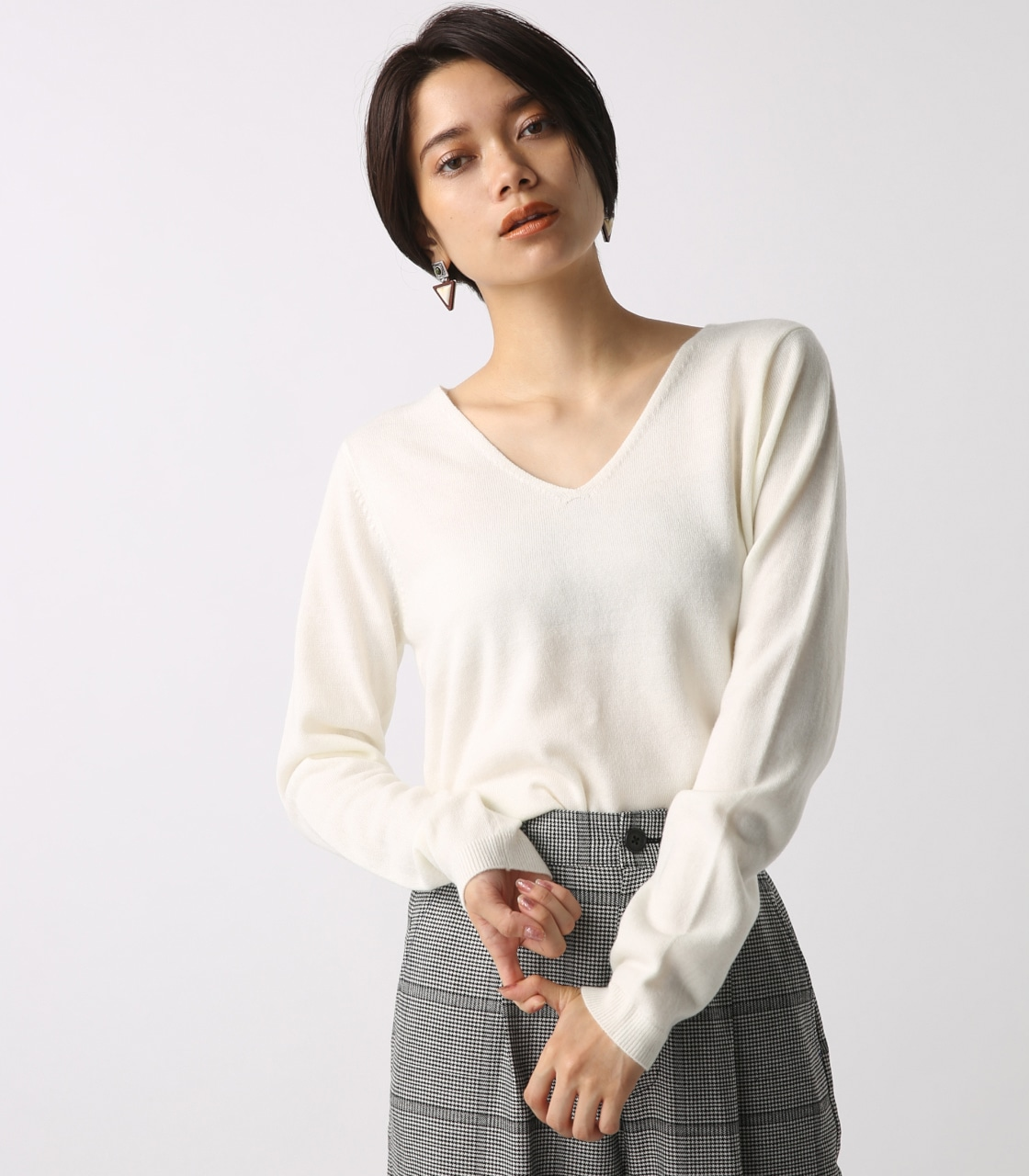 【AZUL BY MOUSSY】ウォッシャブルソフトタッチVネック長袖プルオーバー 詳細画像 O/WHT 3