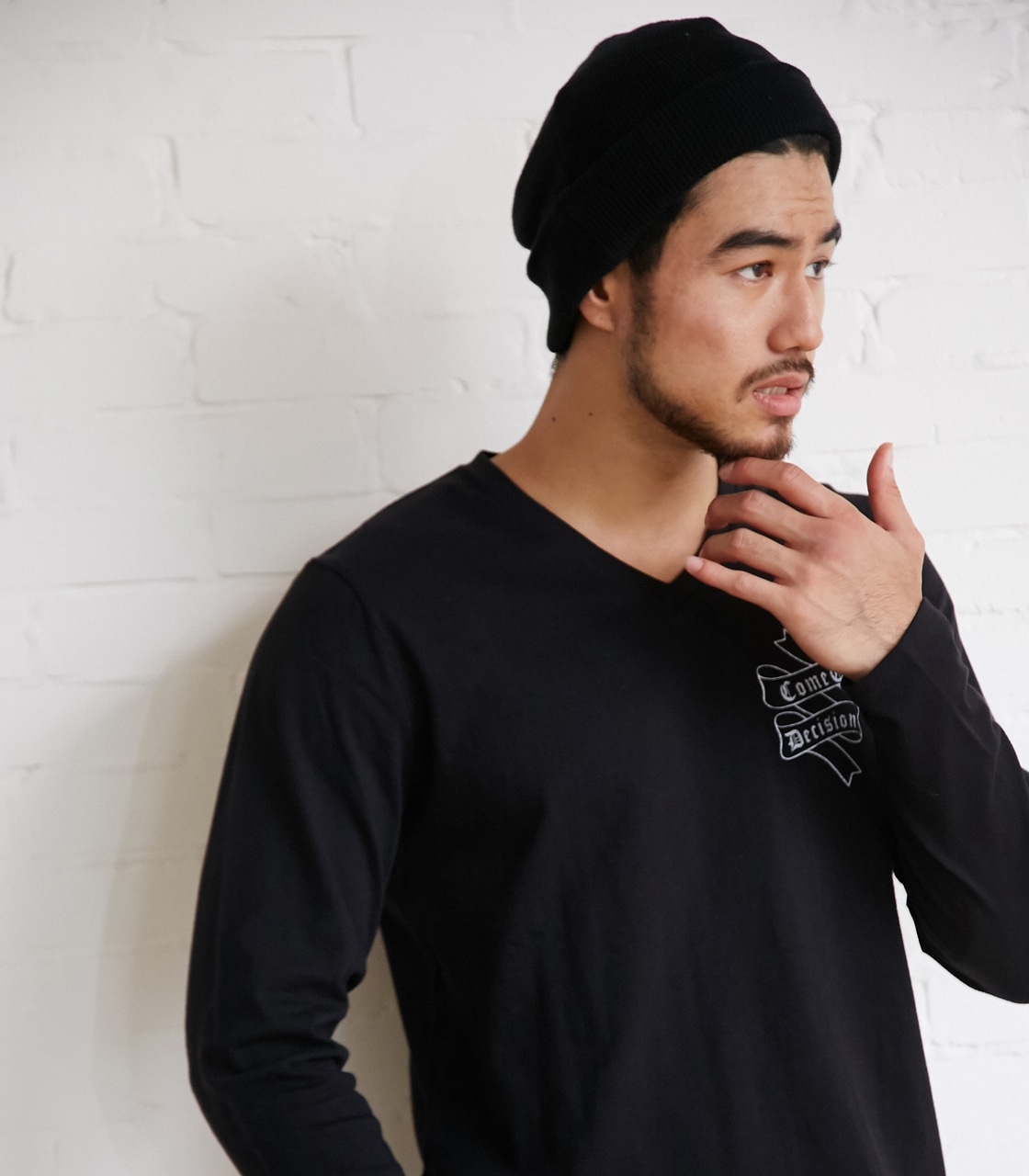 【AZUL BY MOUSSY】Eminent天竺長袖VネックT 詳細画像 BLK 2