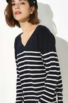 【AZUL by moussy】CRウォッシャブルVネック長袖プルオーバー