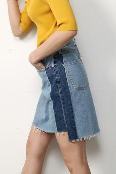 【予約商品】【AZUL by moussy】パッチワークカットオフミニデニムスカート