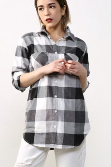 【AZUL by moussy】ブロックチェック長袖シャツ