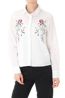 《5/31までWEB限定価格》【AZUL by moussy】刺繍入りガーゼシャツ