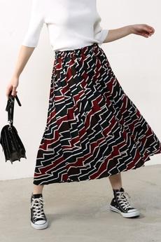 【予約商品】【AZUL by moussy】幾何柄ミディプリーツスカート