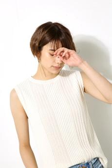 【AZUL by moussy】透かし編みノースリーブニットトップスMOOK番号93087