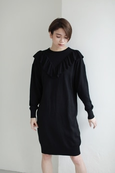 【AZUL by moussy】フロントラッフル長袖ニットワンピース
