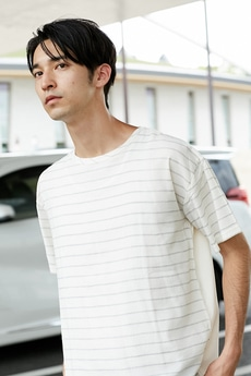 【AZUL by moussy】BACK天竺切替TEE