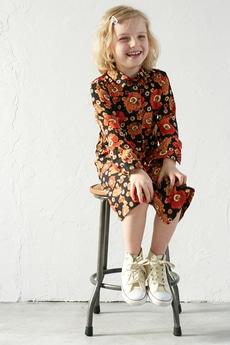 《5/31までWEB限定価格》【KIDS】レトロフラワーロングシャツ長袖ワンピース