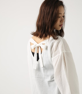 【AZUL BY MOUSSY】バックリボンフレアスリーブブラウス