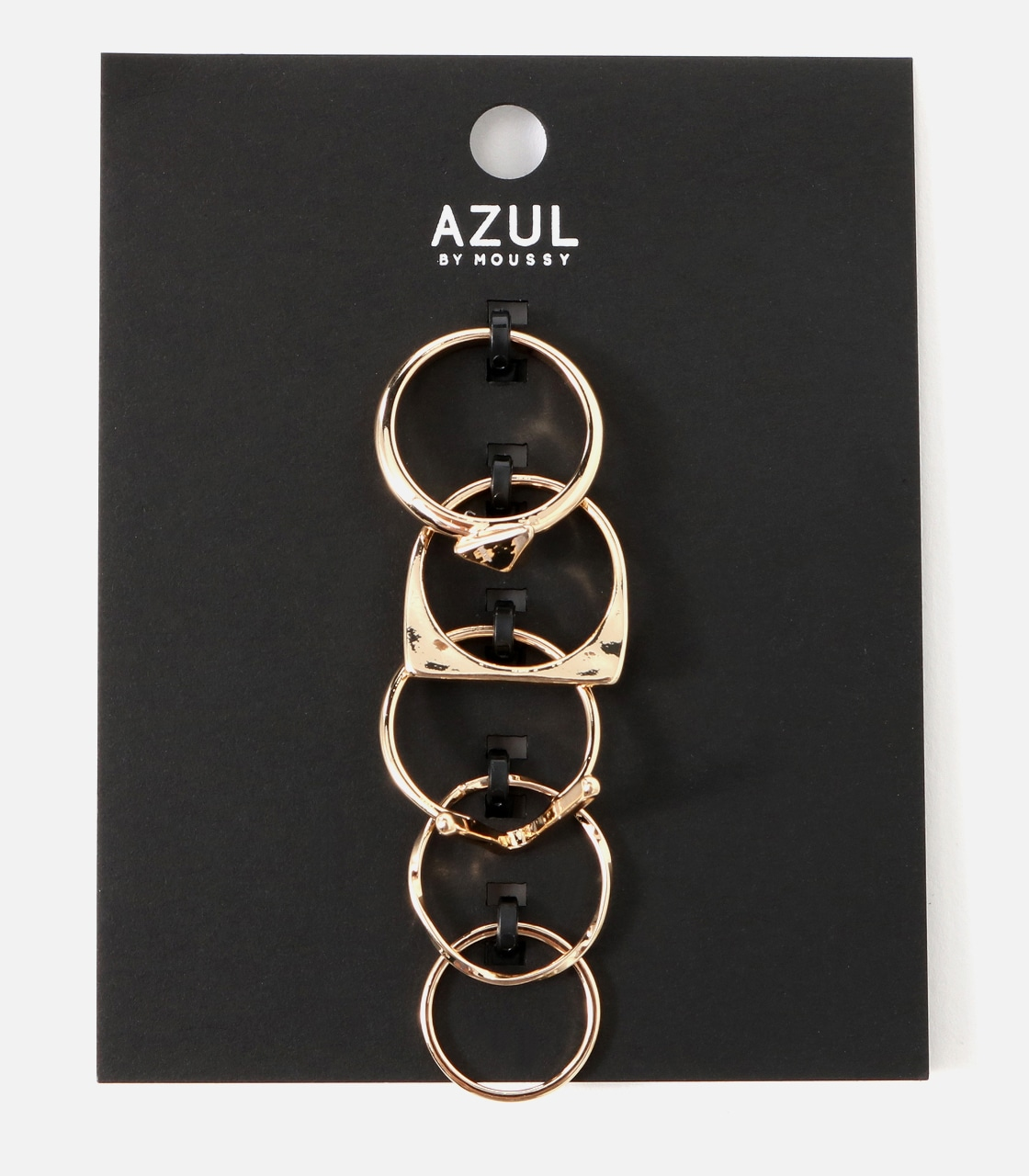 【AZUL BY MOUSSY】V字メタル5本SETリング 詳細画像 L/GLD 1