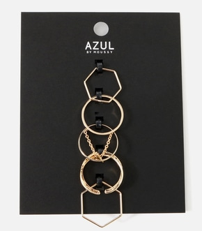 【AZUL BY MOUSSY】チェーンモチーフ5本SETリング