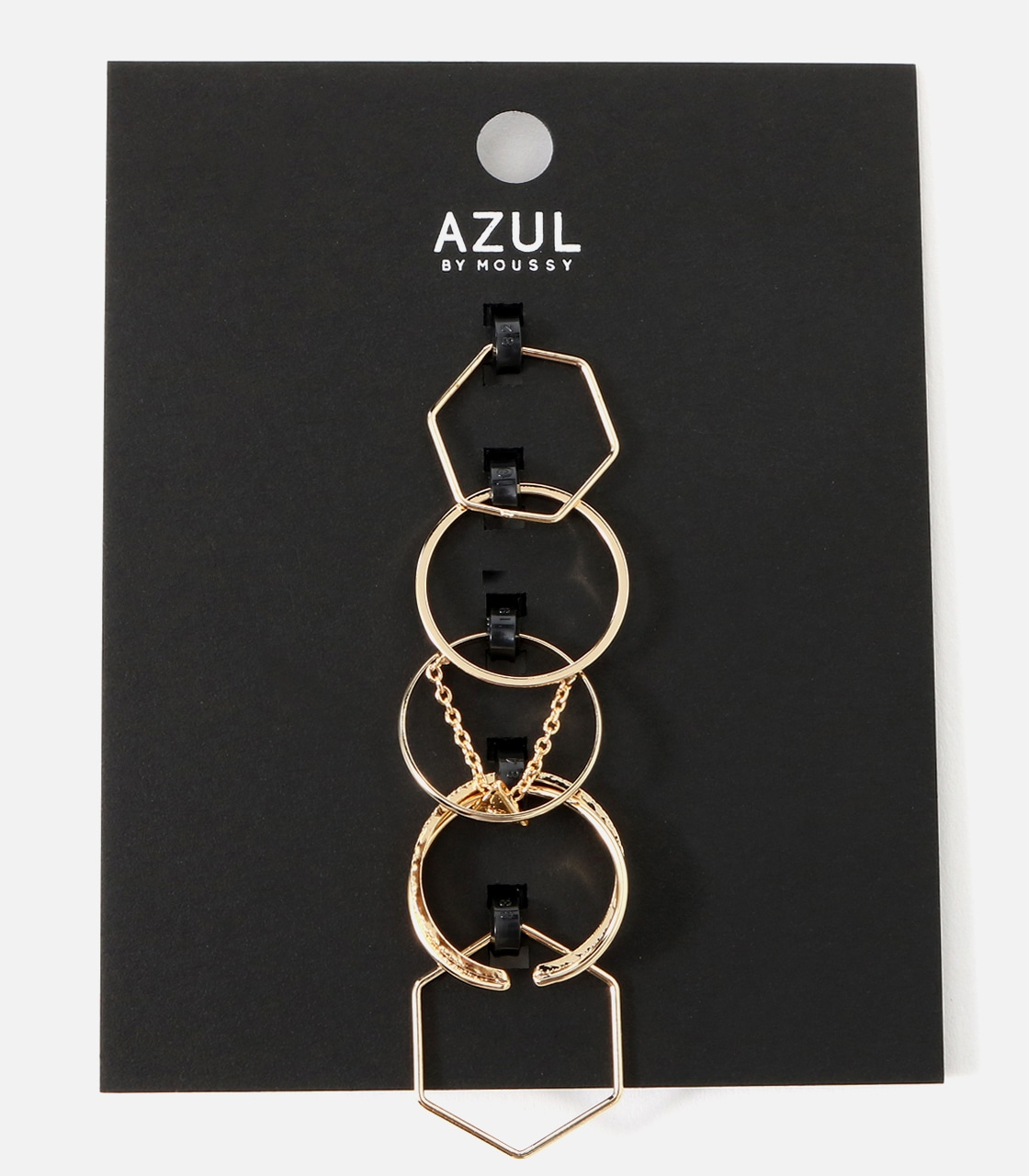 【AZUL BY MOUSSY】チェーンモチーフ5本SETリング 詳細画像 L/GLD 1