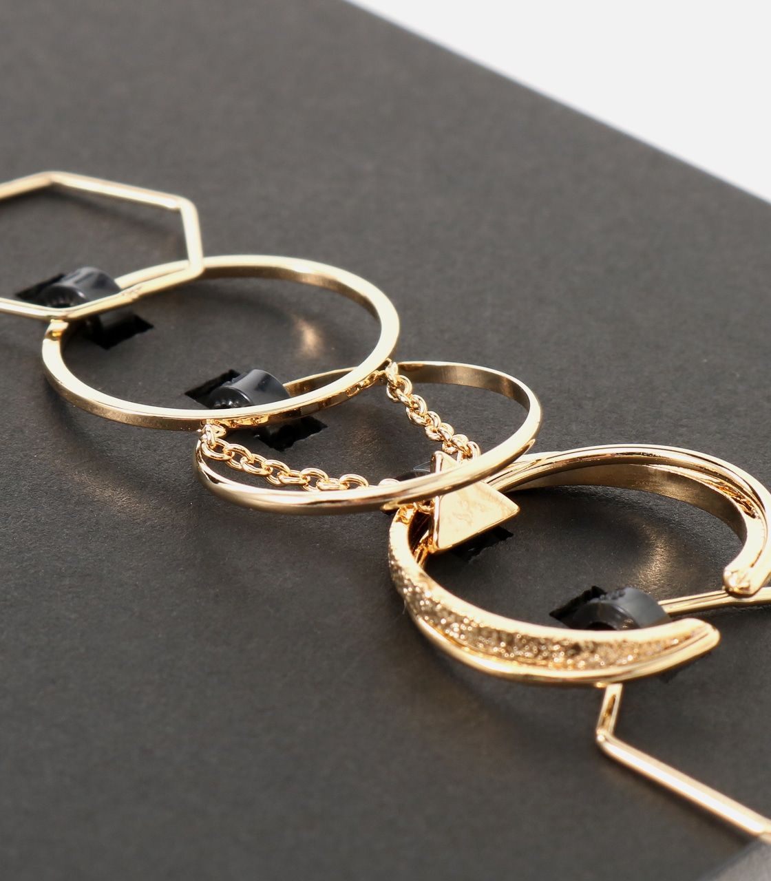 【AZUL BY MOUSSY】チェーンモチーフ5本SETリング 詳細画像 L/GLD 6