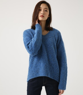 【AZUL BY MOUSSY】ブークレVネック長袖プルオーバー
