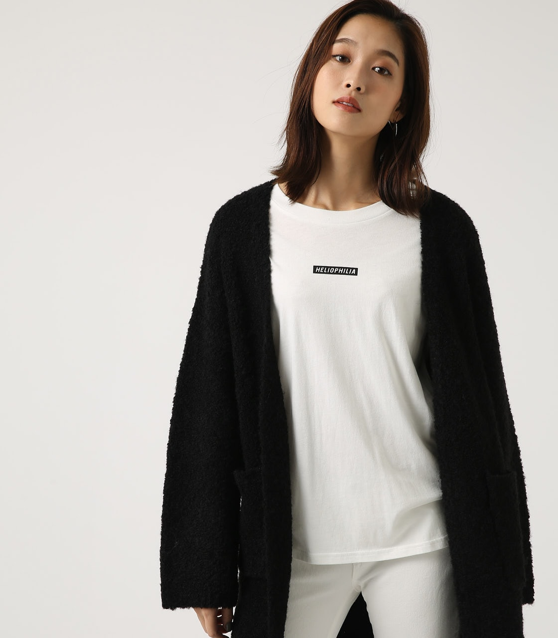 【AZUL BY MOUSSY】ブークレロングカーデ 詳細画像 BLK 1