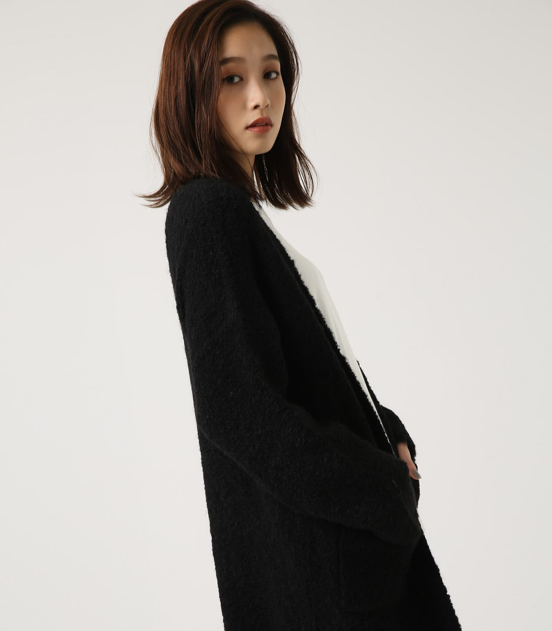 【AZUL BY MOUSSY】ブークレロングカーデ 詳細画像 BLK 2