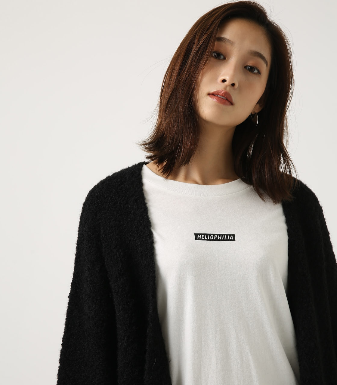 【AZUL BY MOUSSY】ブークレロングカーデ 詳細画像 BLK 3