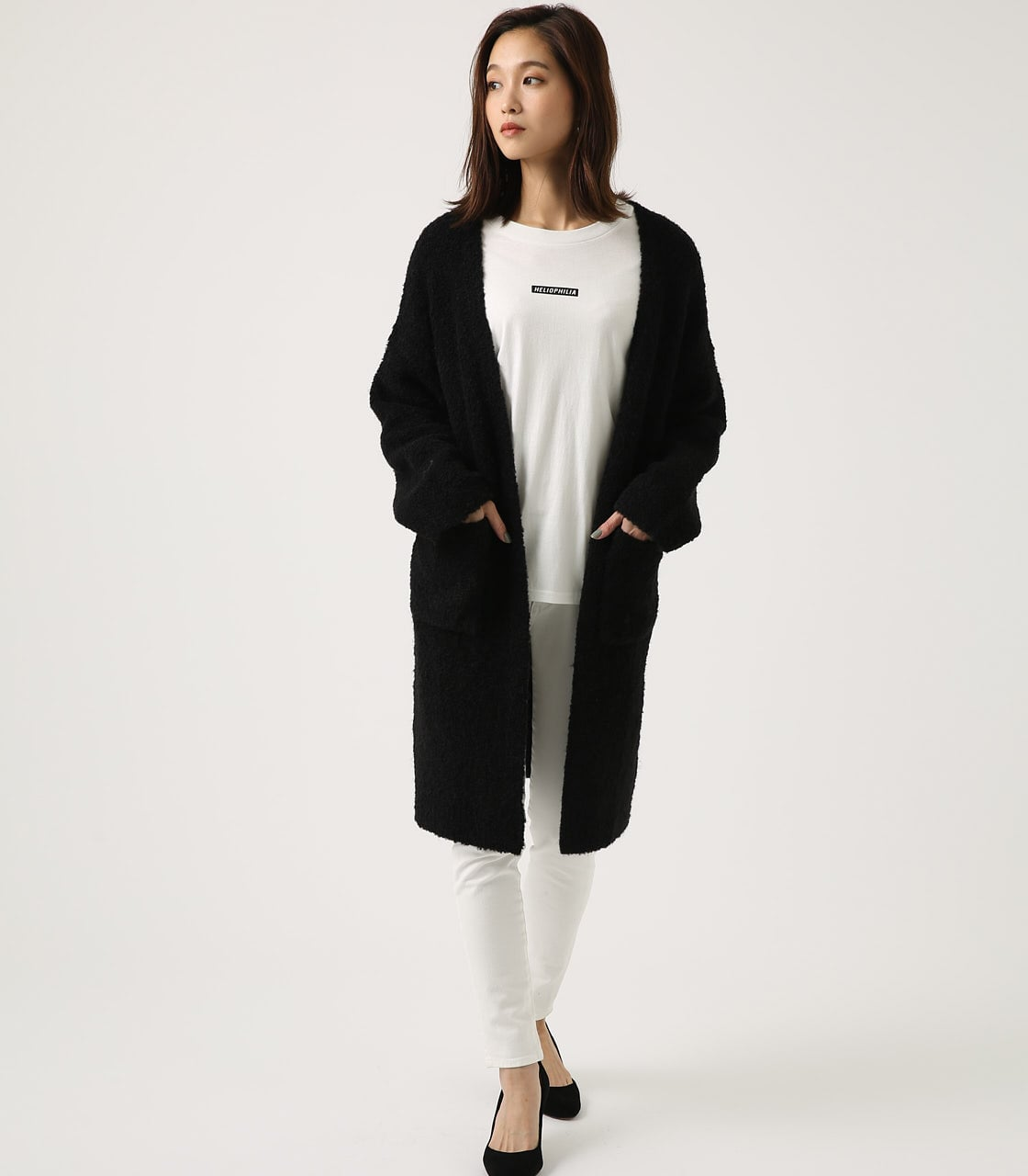 【AZUL BY MOUSSY】ブークレロングカーデ 詳細画像 BLK 4