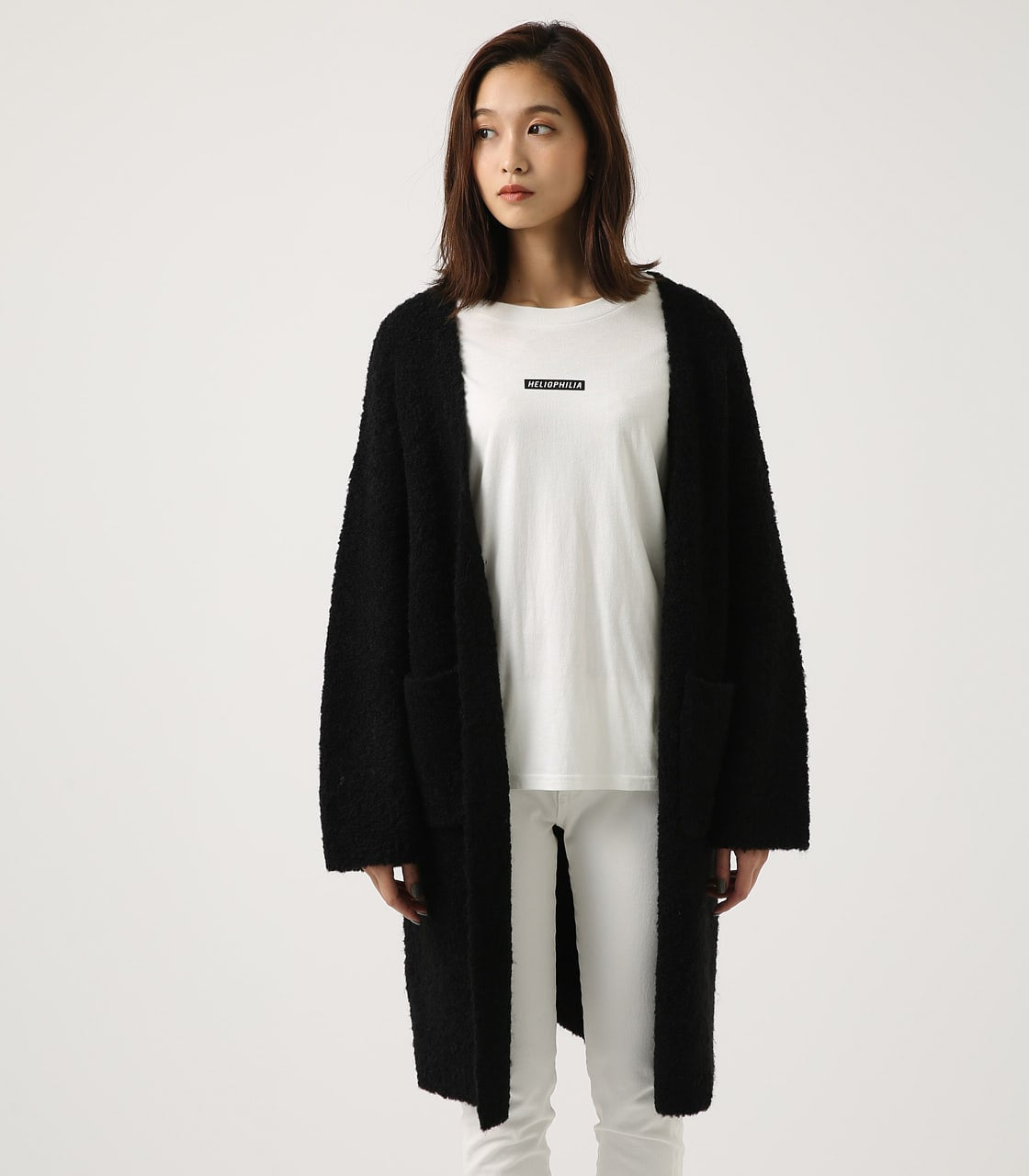 【AZUL BY MOUSSY】ブークレロングカーデ 詳細画像 BLK 5