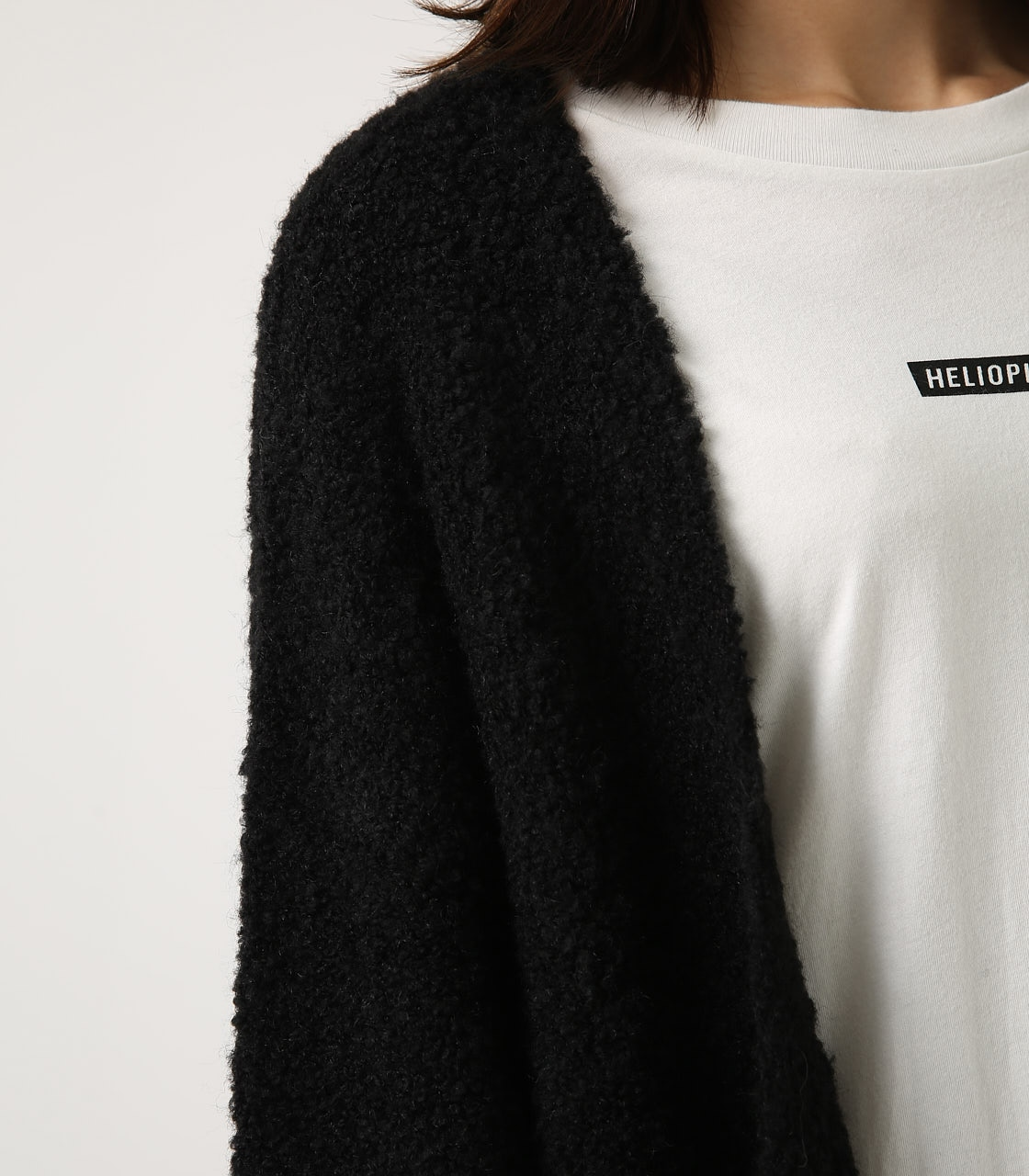 【AZUL BY MOUSSY】ブークレロングカーデ 詳細画像 BLK 8