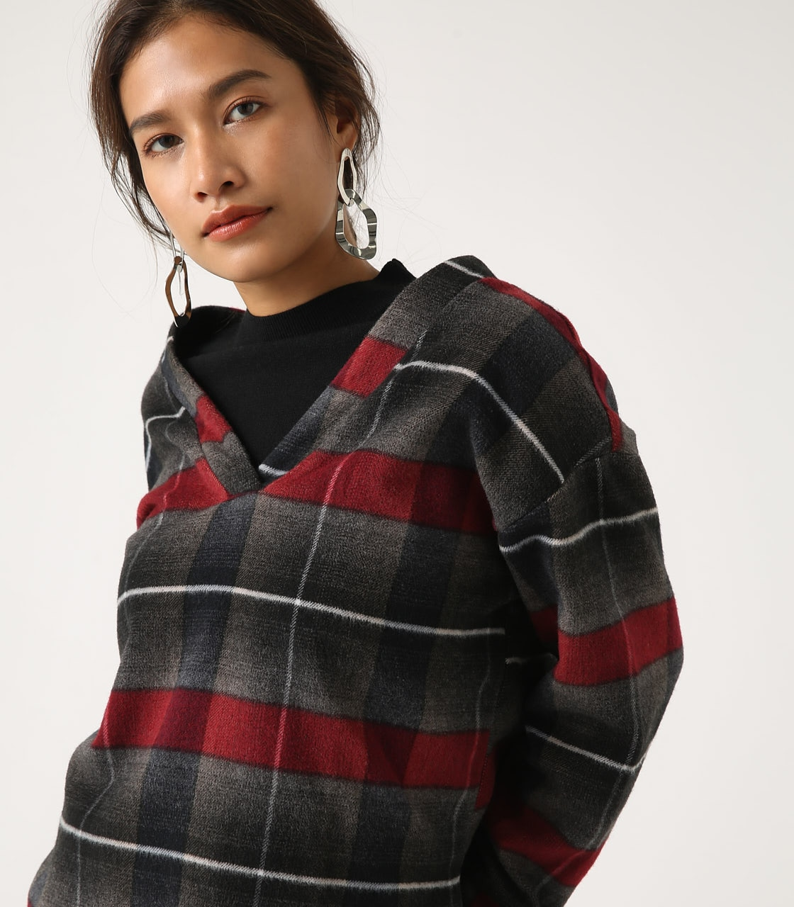 【AZUL BY MOUSSY】シャギーチェック2WAYプルオーバー 詳細画像 柄RED 1