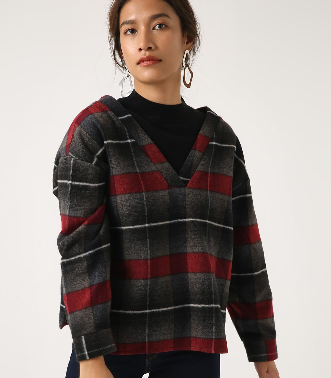 【AZUL BY MOUSSY】シャギーチェック2WAYプルオーバー 詳細画像 柄RED 2