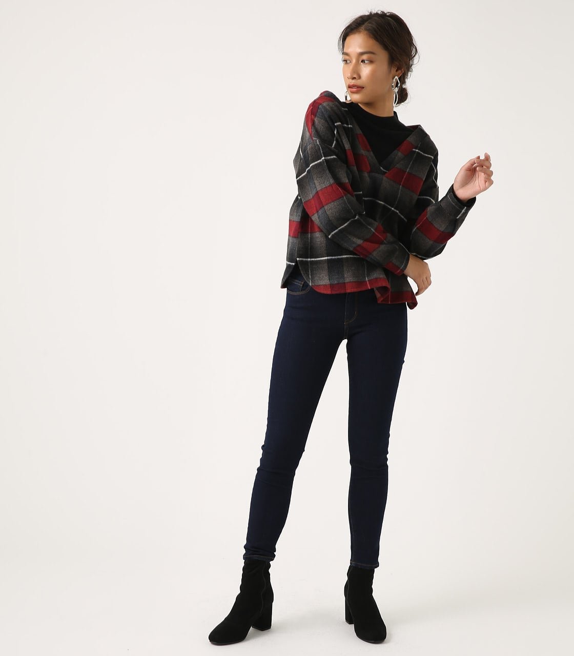 【AZUL BY MOUSSY】シャギーチェック2WAYプルオーバー 詳細画像 柄RED 4